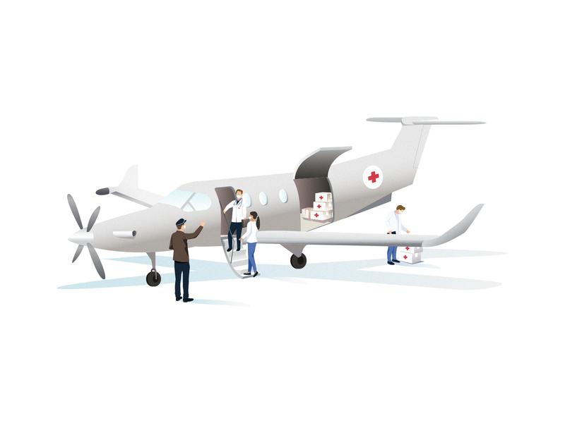 Medical Flight | Illustration storytelling illustrator aircraft medecine doctor doctors mask coronavirus help medical flight illustration