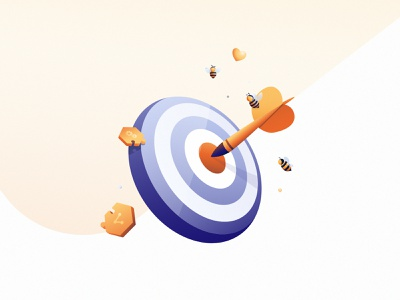 Goal   illustration storytelling illustrator illustration bee target match goal
