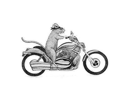 Mouse's dream storytelling rennes designer sketch illustration drawing fineart black pointillism dotwork bike biker