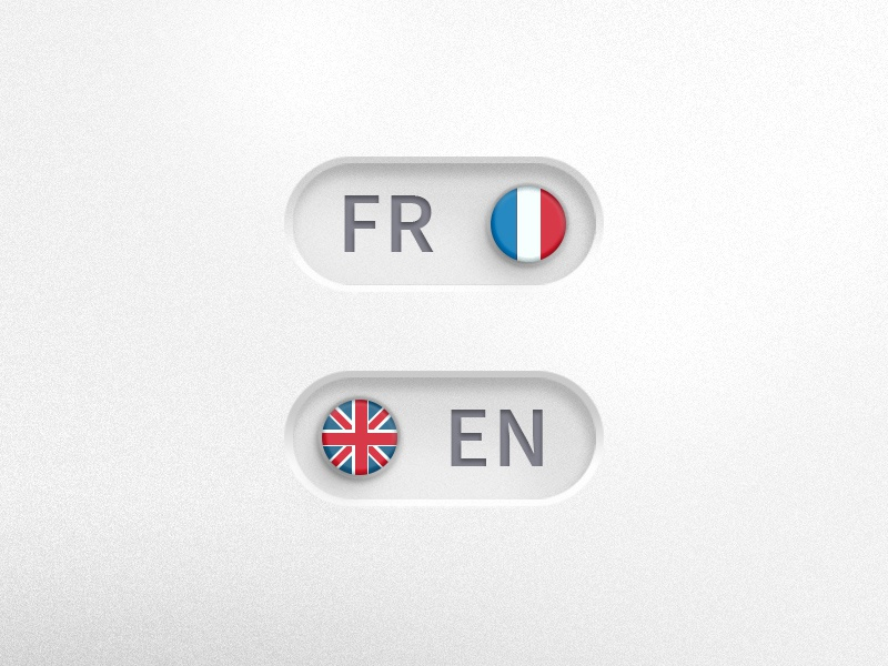 Languages toggle button photoshop psd toggle ui webdesign languages control switch button english fr french