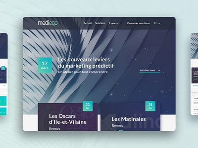 Redesign Mediego redesign website mediego predictive marketing rennes workshop news blue ux ui webdesign