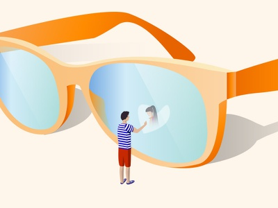 Holiday romance romance holiday summer small character love girl transparency mirror illustration boy glasses