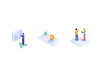 Isometric Icons illustration storytelling ai data secure ui blue drawing design isometric illustrator icon