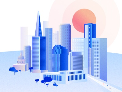 Small City drawing town light city sun building us illustration