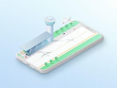 Captain Jet | App ui mobile app privatejet jet airport storytelling aircraft 3d isometric illustration