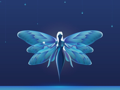 3D Fairy Illustration mesh illuminated art brand luxury butterfly fairy drawing design 3d illustrator illustration