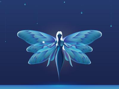3D Fairy Illustration mesh illuminated art brand luxury butterfly fairy drawing design 3d illustrator illustration