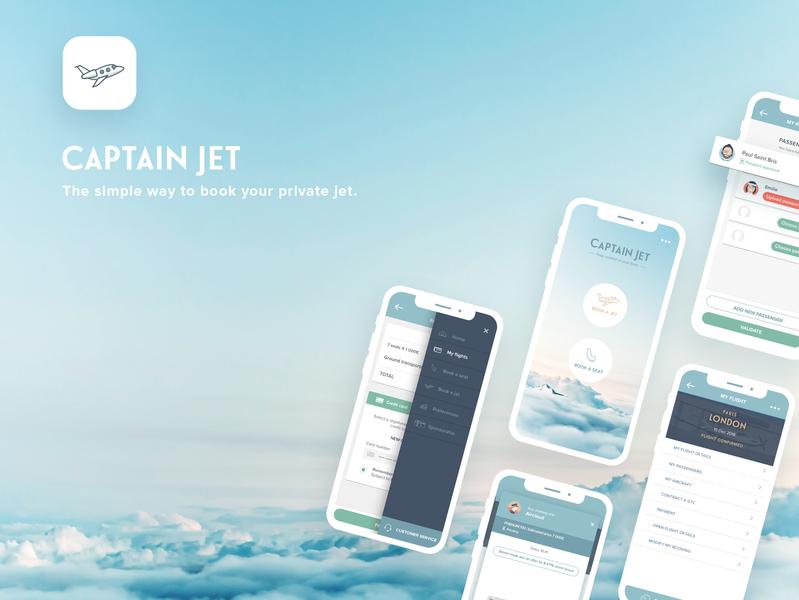 CaptainJet Mobile App illustration webdesign interface ux private jet sky app concept sketch mobile ui app aviation aircraft