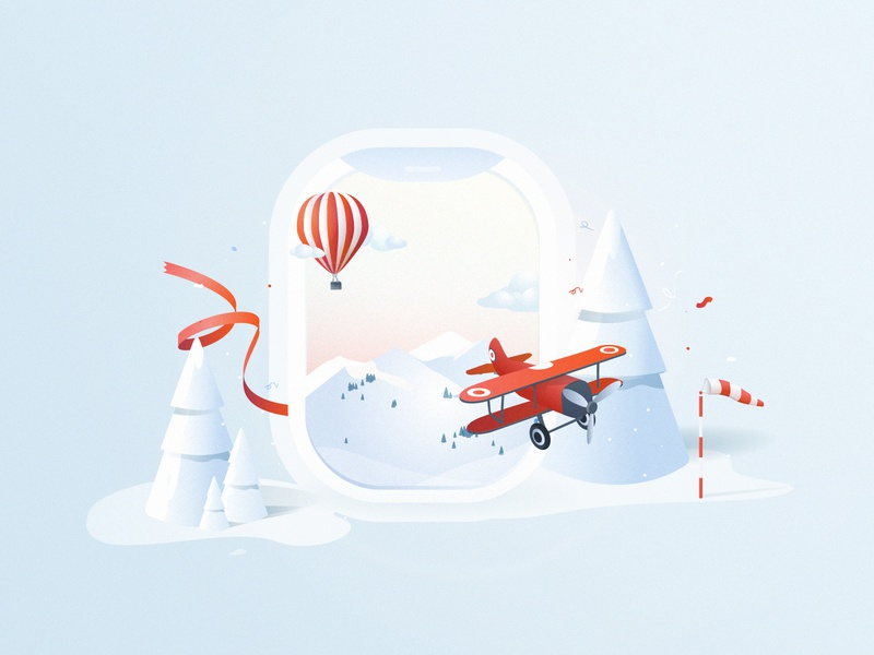 Merry Christmas ! illustrator aviation snow party christmas fairy 3d isometric illustration aircraft merrychristmas