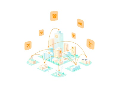 IoT Illustration vector storytelling city security crypto exchange isometric 3d wallets crypto wallet crypto network blockchain illustration iot ledger