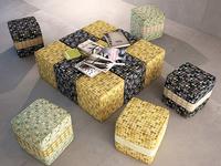 little poufs in Karim Rashid's fabric