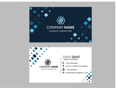 BUSINESS CARD BLUE SQUARE stationery design vector branding design