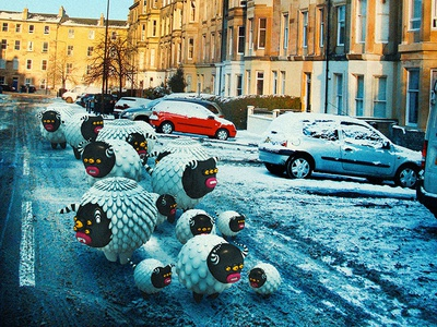 Cow monsters in extreme low temperatures cute little monsters monsters scotland edinburgh illustrations 3dart 3d