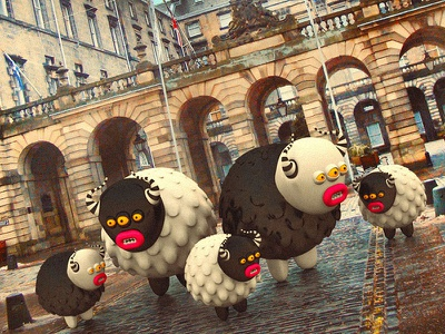 Monsters tourists in the old city cute little monsters monsters scotland edinburgh illustrations 3dart 3d
