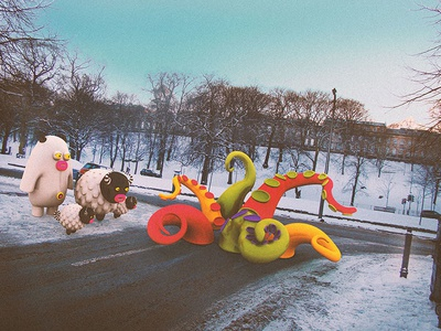 Blocked road ahead cute little monsters monsters scotland edinburgh illustrations 3dart 3d