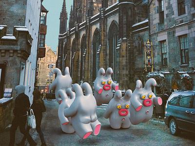 Hop//hop//hop//hop cute little monsters monsters scotland edinburgh illustrations 3dart 3d