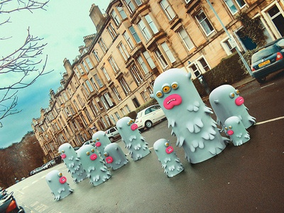 Worms invasion cute little monsters monsters scotland edinburgh illustrations 3dart 3d