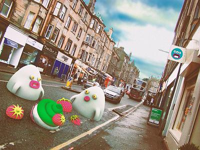 Swallowed by asphalt cute little monsters monsters scotland edinburgh illustrations 3dart 3d