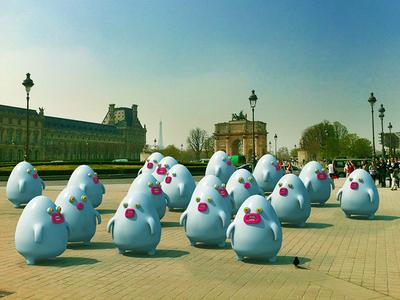 Tourism in Paris's gone weird cute little monsters monsters paris france illustrations 3dart 3d