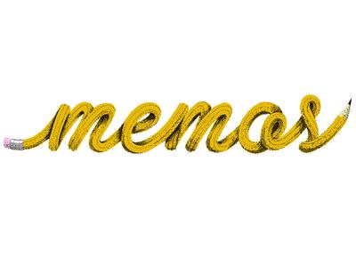Memos illustration script typography