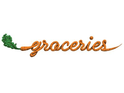 Groceries illustration script typography