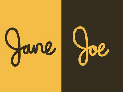 Jane | Joe custom type script typorgraphy