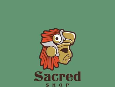 Sacred Shop Logo design website vector art illustrator minimal icon flat logo design illustration