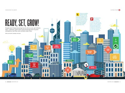 Ready, Set, Grow! Double pg spread for uniSA Magazine business grow growth city page double magazine editorial illustration