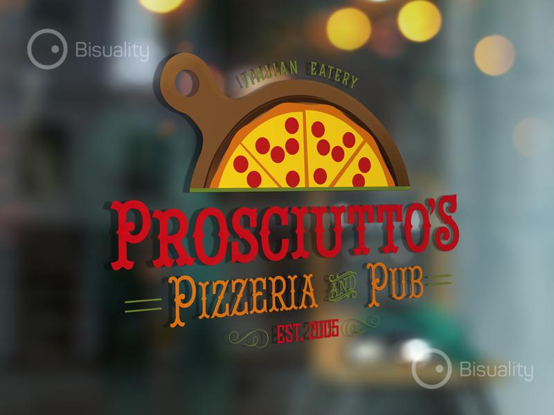Prosciuttos Pizzeria Logo pizza elegant eatery italian food fast logo pizzeria prosciutto