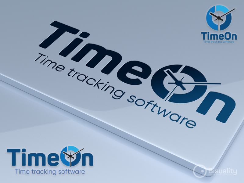TimeOn Time Tracking Software Logo saas brand timer company business computers technology logo software tracking time timeon