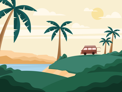 Van on The beach vacation car van hill environment beach sunny nature illustration green day