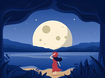 Enjoy the moon girl night lake moon environment beach nature illustration