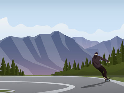 On the road nature forest green cool road skateboarding skateboard people man sunny hill day environment illustration