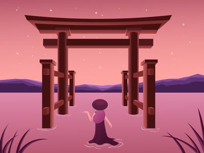 This is a trip trip people warm pink red japan girl sunset night beach environment nature illustration