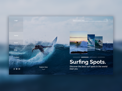 Home Page - Surfing Spots beach party surf surface design surfing ui  ux ui design uidesign uiux web design webdesign website design ui sunny web day beach green environment nature