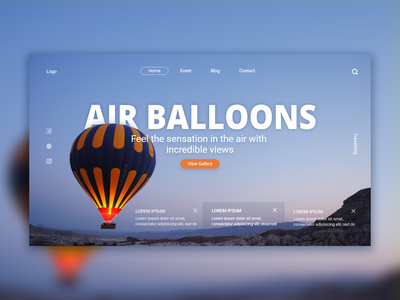Home Page - Air Balloons traveling balloons balloon air balloon air ui design ui  ux web design webdesign uiux uidesign ui web sunny night hill day environment nature