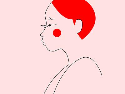 red hair vector flat minimal design illustration
