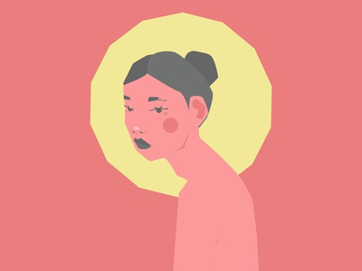 halo woman illustration portrait person art vector minimal illustration flat