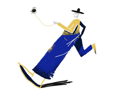 Gentleman walks his fly 365 challenge draw everyday draw daily blue yellow small dog walk primitive texture runner run hat bug fly bold art charcter design character illustration