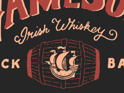 Black Barrel whiskey lettering hand type illos