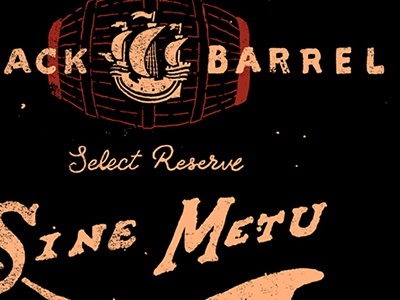 Black Barrel alcohol jameson whiskey lettering hand type illos