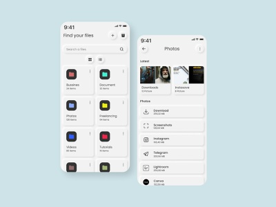 File Manager - Mobile App - Neumorphism mobile app mobile ui mobile flat neumorphism ux app ui design