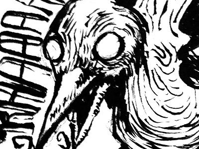 Inked Grackle bird ink drawing sketch