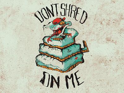 Dont Shred Onme grunge snake ink illustration flag texas graphic
