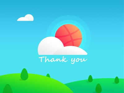 Dasha Thank You greetings photoshop contracted cloud tree hills sky new players sunny day