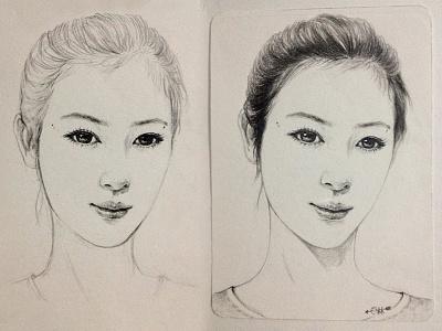 Hand-painted girl original illustrations hand-painted step figure