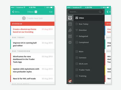 Mobile Navigation ui mobile flat clean tasks app iphone menu navigation