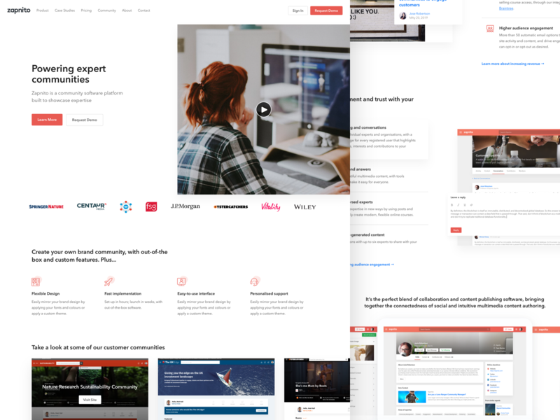 Zapnito Marketing homepage hero website landing landing page marketing marketing site