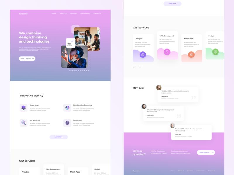 Digital marketing agency Landing figmadesign webdesign web figma design ux ui