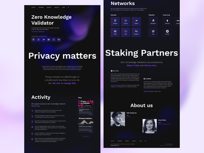 Landing page for ZK Validator crypto tech ux ui landing page landing figma figmadesign